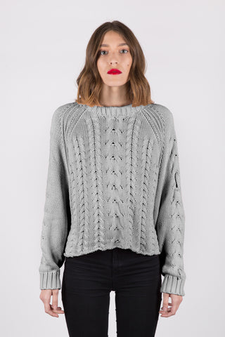Joy Cable Sweater - Ash Grey