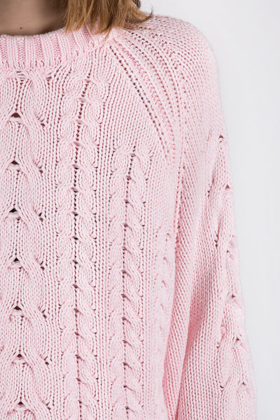 Joy Cable Sweater - Dust Pink