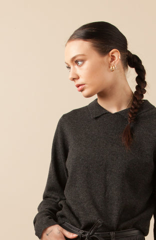 Sunday Collar Sweater- Charcoal