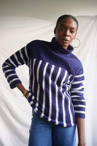 Hand Knit Stripe Mock Neck