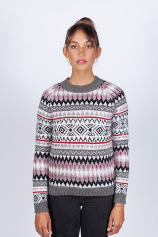 Huck Fair Isle Crew - <br>Dust Purple