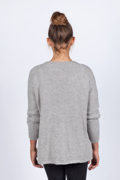 Hand Knit West Pullover - Grey
