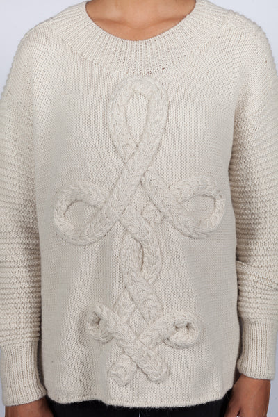 Hand Knit West Pullover - Ivory