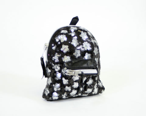 Backpack Black with Silver Sequins