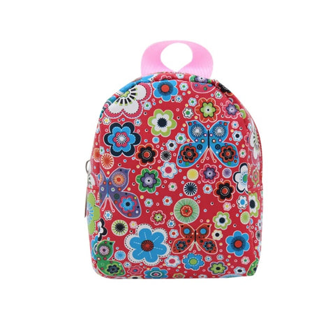Backpack Pink with Flowers and Butterflies