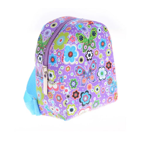 Backpack Purple with Flowers and Butterflies