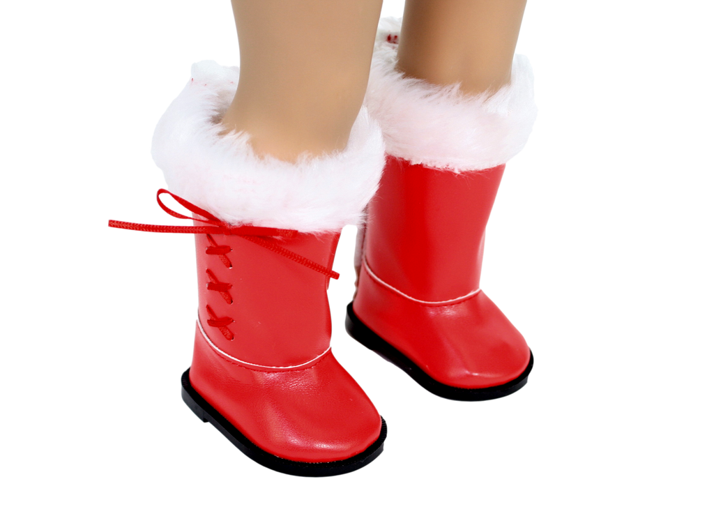 Red Boots with White Fur Top