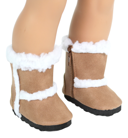 Suede Boots with Fur Trim