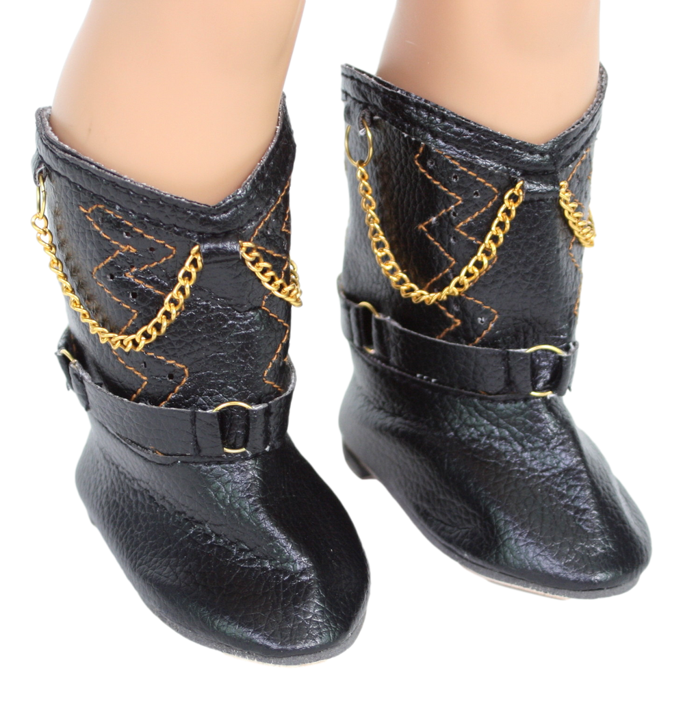 Black Boots with Chain Accent