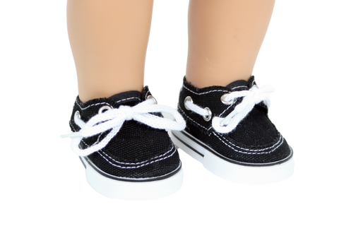 Black Canvas Boat Shoes