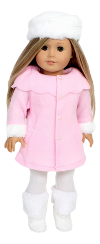 Pink Fleece Coat and Fur Hat
