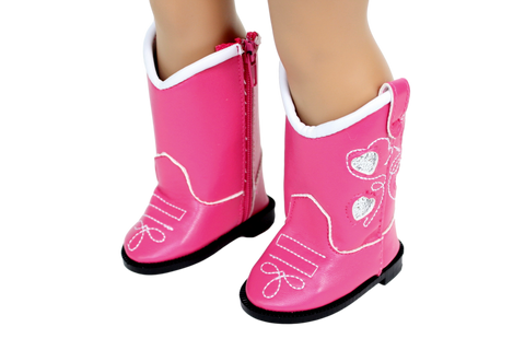 Pink Cowgirl Boots with Silver Stars
