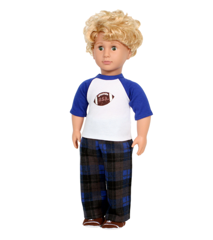 Blue Plaid Football Pajamas