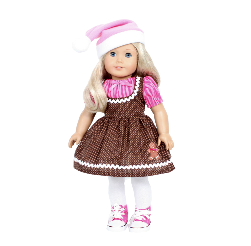 Gingerbread Dress with Santa Hat