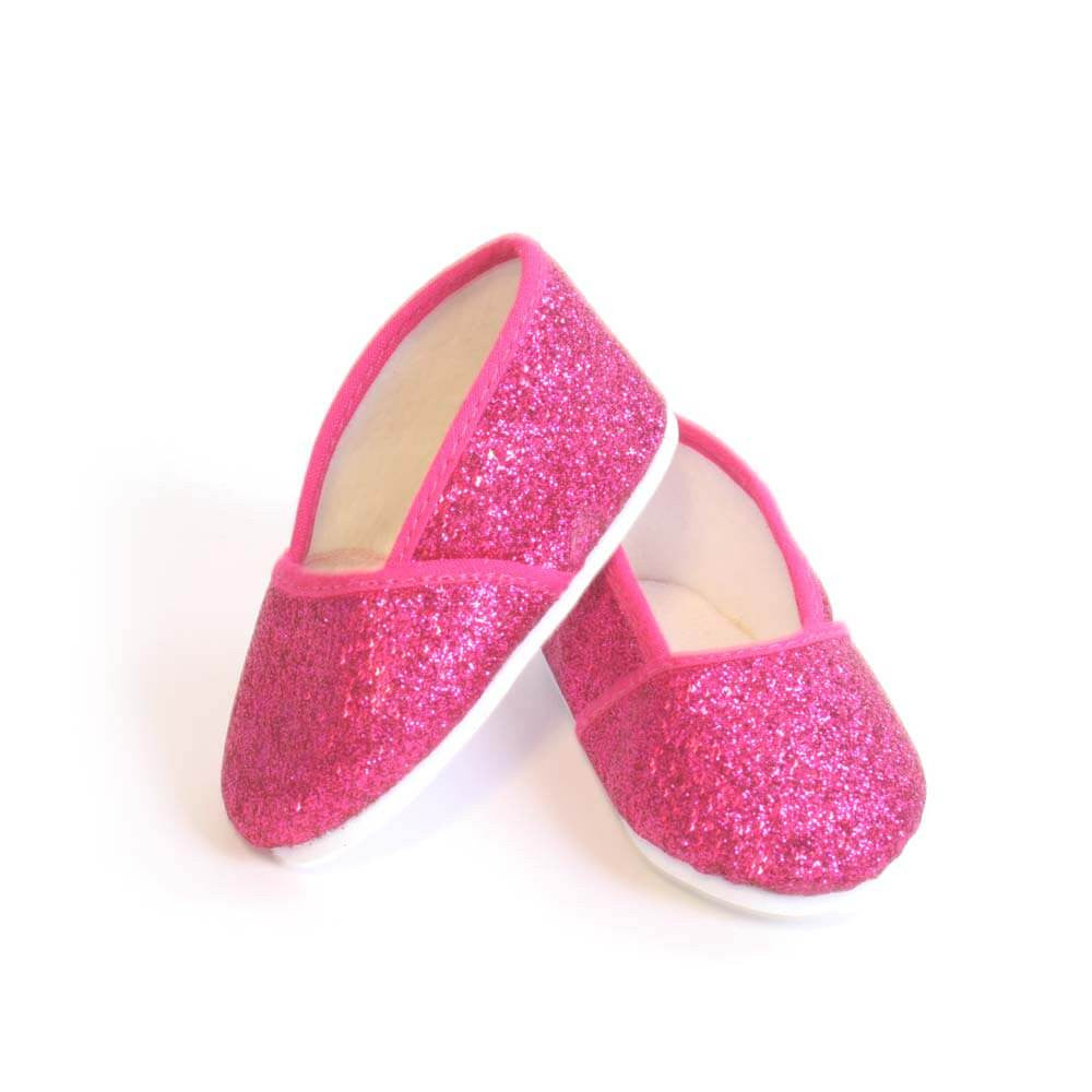 """Hot Pink Glitter Flats Fits 18/"""" American Girl Doll Clothes Shoes"""