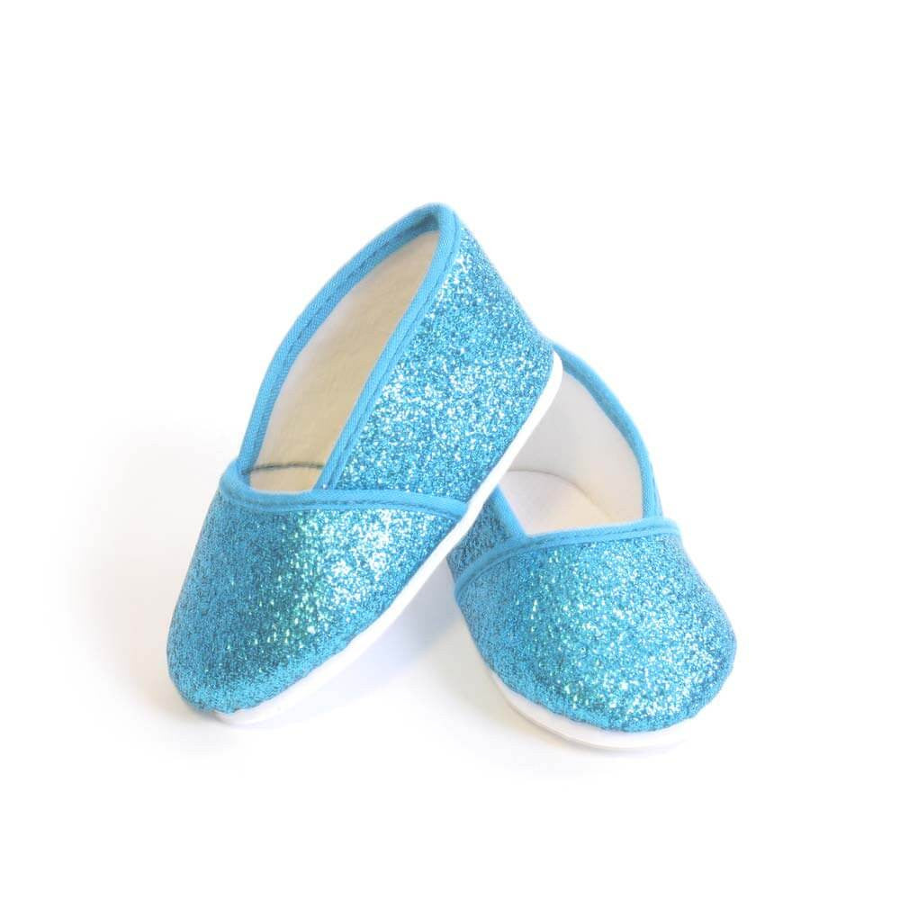 5a6235fd9f74 Turquoise Glitter Slip-on Shoe for 18 Inch American Girl Doll Clothes –  EverEighteen