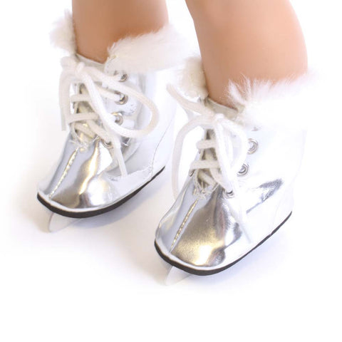 Silver Ice Skates w/ Fur Trim
