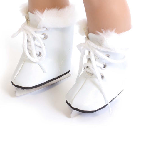 White Ice Skates w/ Fur Trim