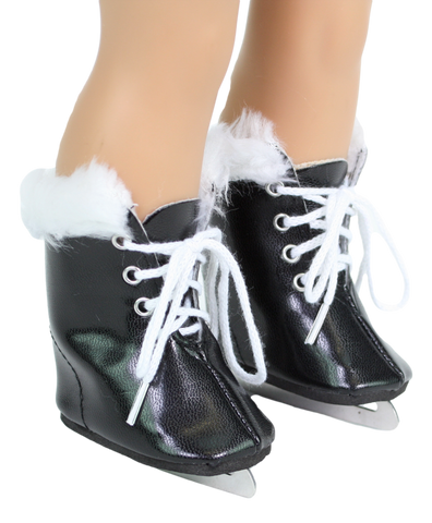Black Ice Skates w/ Fur Trim