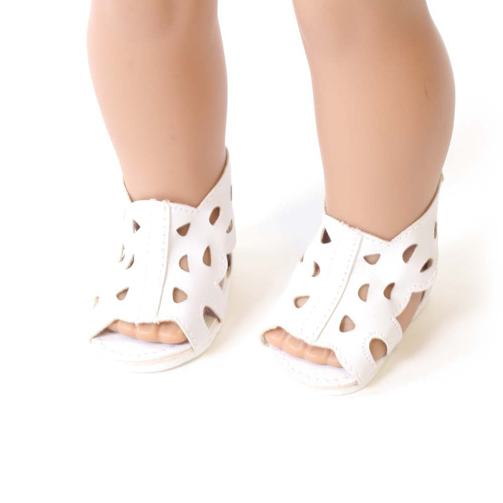 White Open Work Sandal