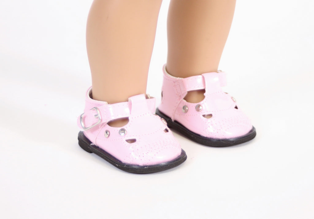 Pink Mary Janes Shoes with Metal Studs