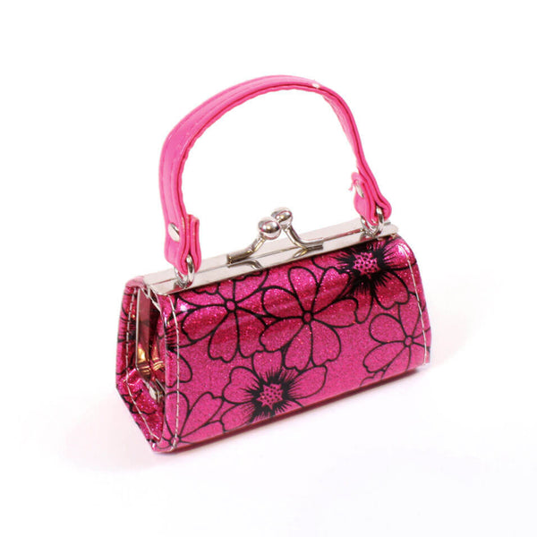 a0f2941bb6db Hot Pink Glitter w/ Flower print Purse for 18 Inch American Girl Doll  Clothes – EverEighteen
