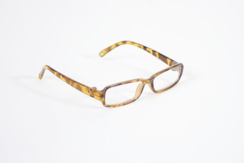 Brown Tortoise Shell Rectangle Plastic Frame Glasses