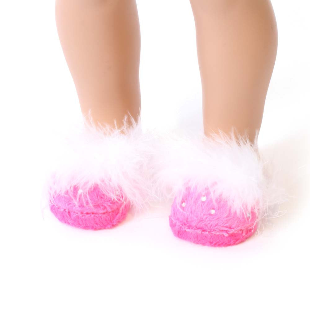 Hot Pink Slippers w/ Rhinestones
