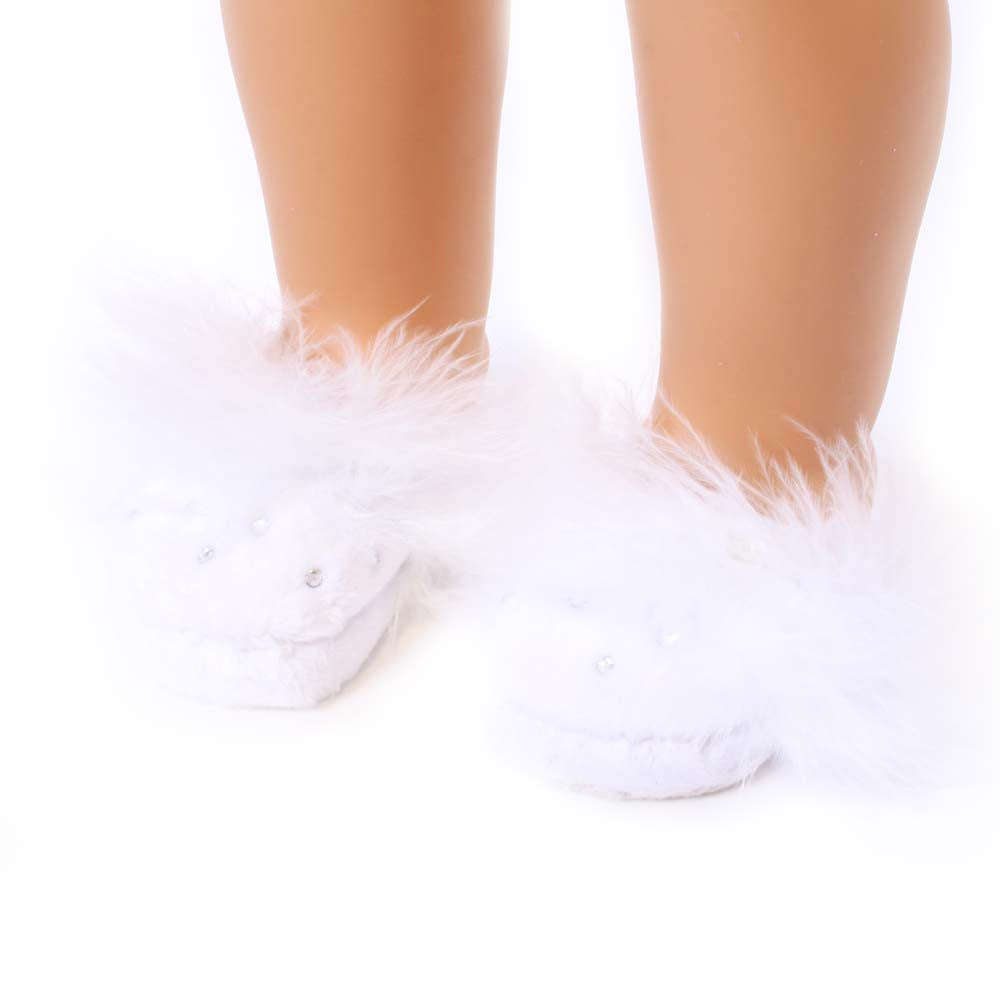 White Slippers w/ Rhinestones