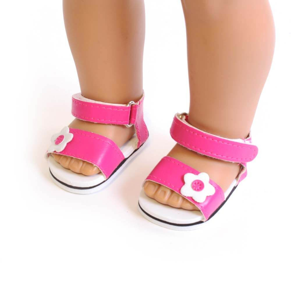 ca8fbf122f5 Hot Pink Sandals w  Flower for 18 Inch American Girl Doll Clothes –  EverEighteen