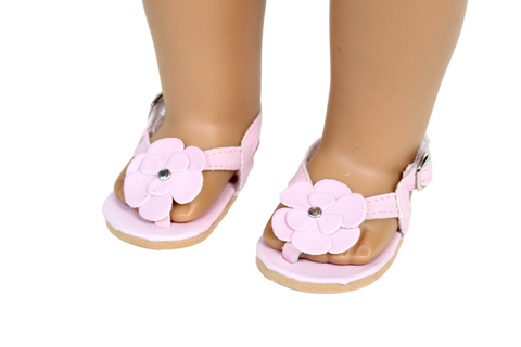 Pink Leather Sandals with Flower Accent