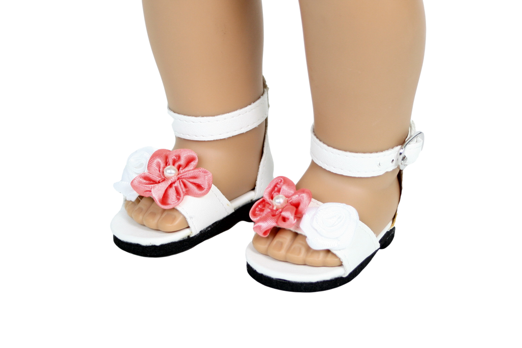 White Sandals with Peach Flower