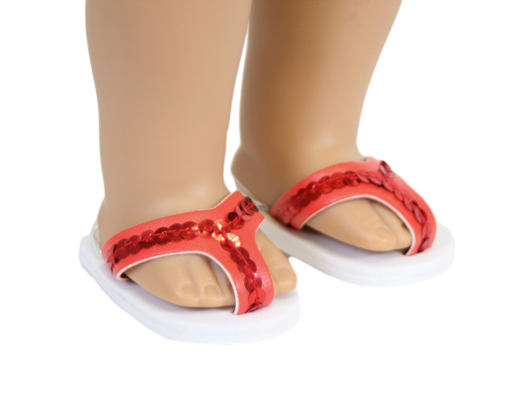 Red Sequined Flip Flops
