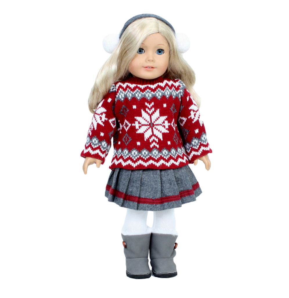 Red Snowflake Sweater and Skirt Set