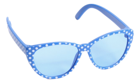 Blue w/ White Polka-Dot Sunglasses