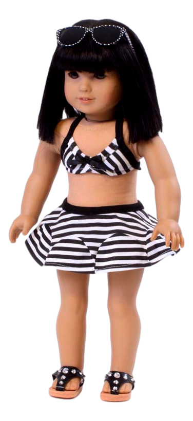 Black and White Stripe Swimsuit