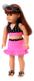 Black & White Polka-Dot Swimsuit w/ Pink Skirt