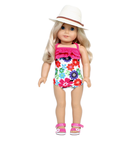 Floral Swimsuit with Pink Ruffle