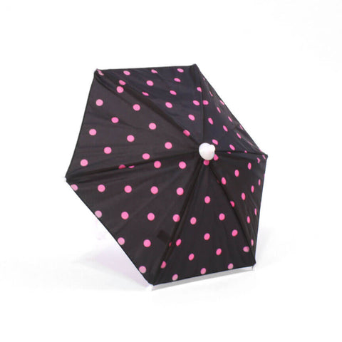Black w/ Pink Polka-Dot Umbrella