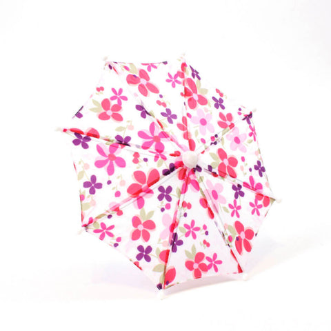White w/ Pink Flower Print Umbrella