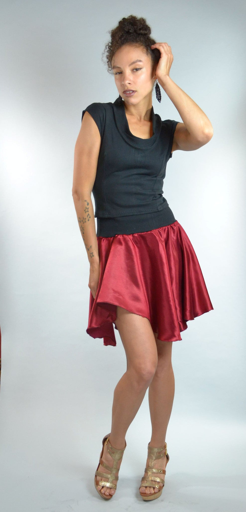 Hemp Silk Wavy Hem Skirt