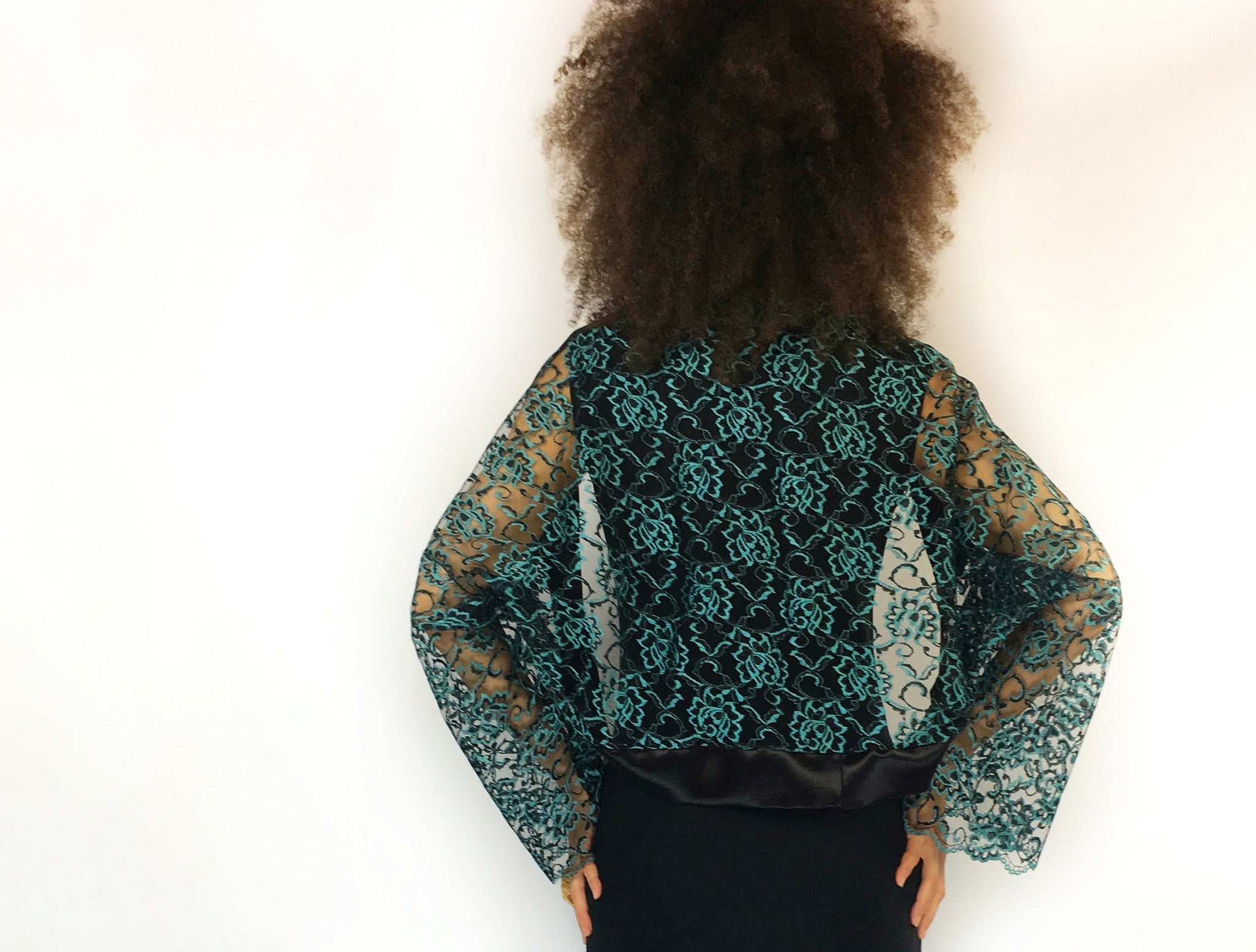 InstaGlam Shrug in Hemp Silk and Teal Lace