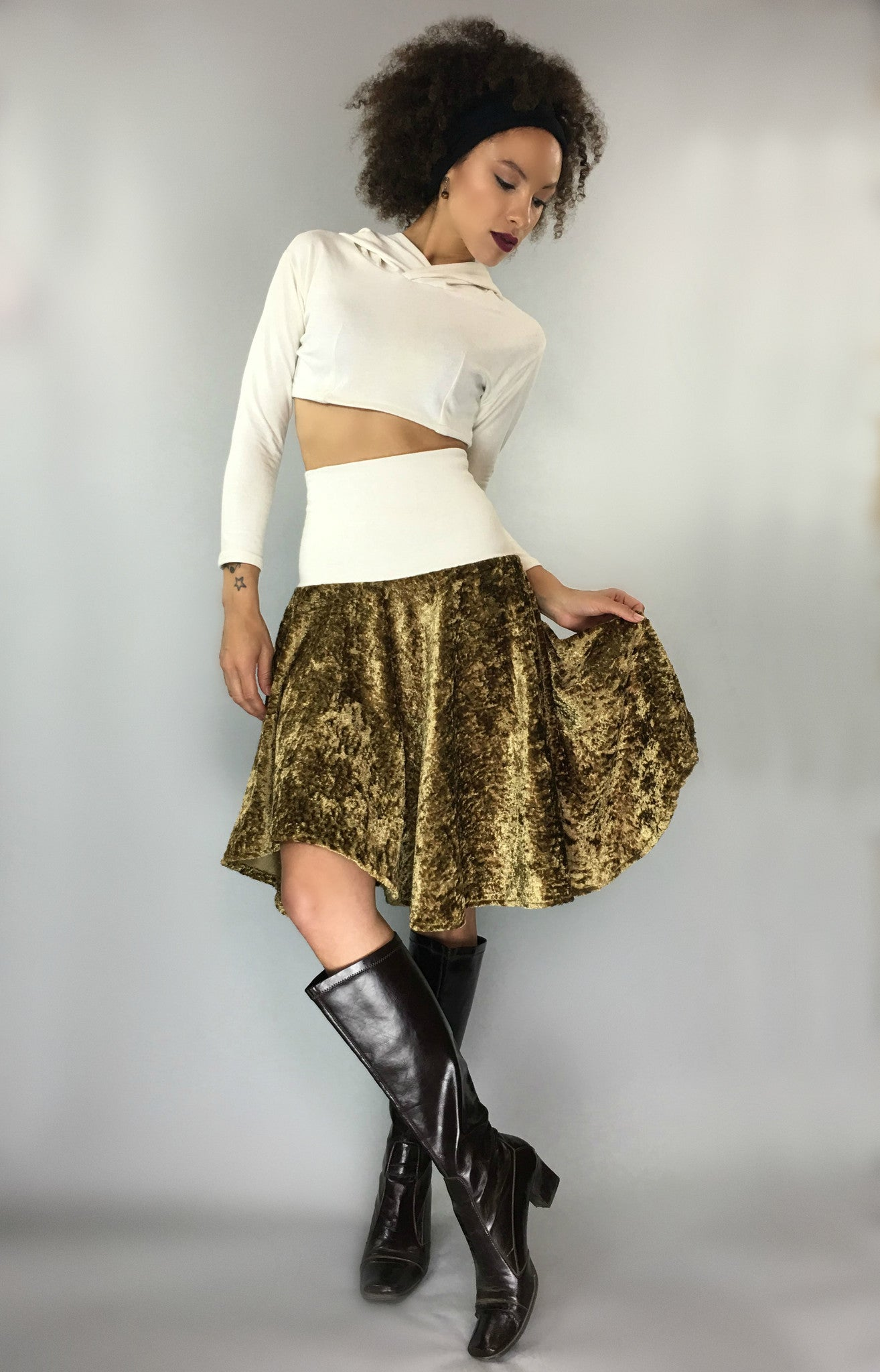 Gold Velvet Hemp Skirt
