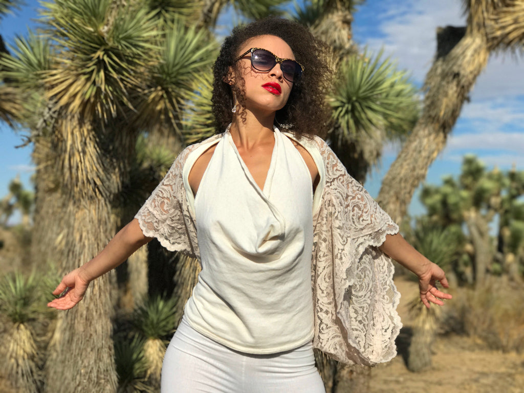 InstaGlam Shrug of winter white Lace and hemp