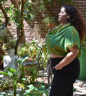 vintage Green Glam Oversize Top