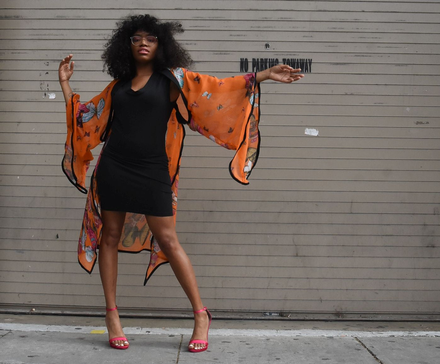 Instaglam Deluxe Orange Butterfly Shrug