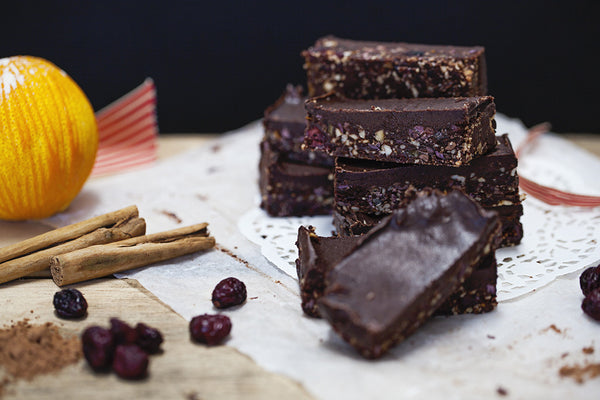 Raw chocolate festive brownies