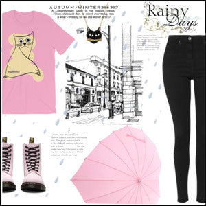 Rainy Days: Featuring DogzPrinted Kitty Pink T-Shirt
