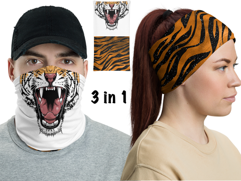 Tiger Mouth Face Mask Neck Gaiter Unisex Athletic Bandana - DogzPrinted