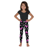 Pink Minnie Mouse Ear Bows - White & Black Polka Dot - Kids Leggings - 2T-7 - DogzPrinted